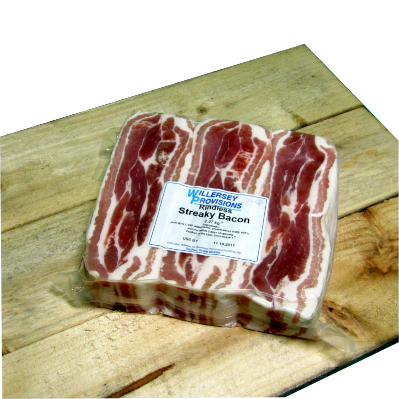 Rindless **PLAIN** Streaky Bacon (5lb) 2.27kg